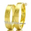 Aliancas para casamento WM2461 Modelo: Aliança de noivado e casamento Material: Ouro Amarelo 18k 750 Peso: 6,5 gramas o par Largura: 3.5 milímetros Formato: Anatômico Baixo Acabamento: Liso c/ Friso Fosco
