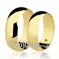 Alianças WM2727 Modelo: Aliança de noivado e casamento Material: Ouro Amarelo 18k 750 Peso: 11 gramas o par Pedra(s): 1 rubi Largura: 6 milímetros Formato: Tradicional Anatômico Baixo Acabamento: Liso