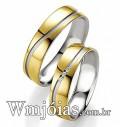Aliancas de noivado e casamento Material: Ouro Amarelo 18k 750 Prata 950 Peso: 12 gramas o par Largura: 6 milímetros Formato: Anatômico Baixo Acabamento: Liso c/ Friso Fosco